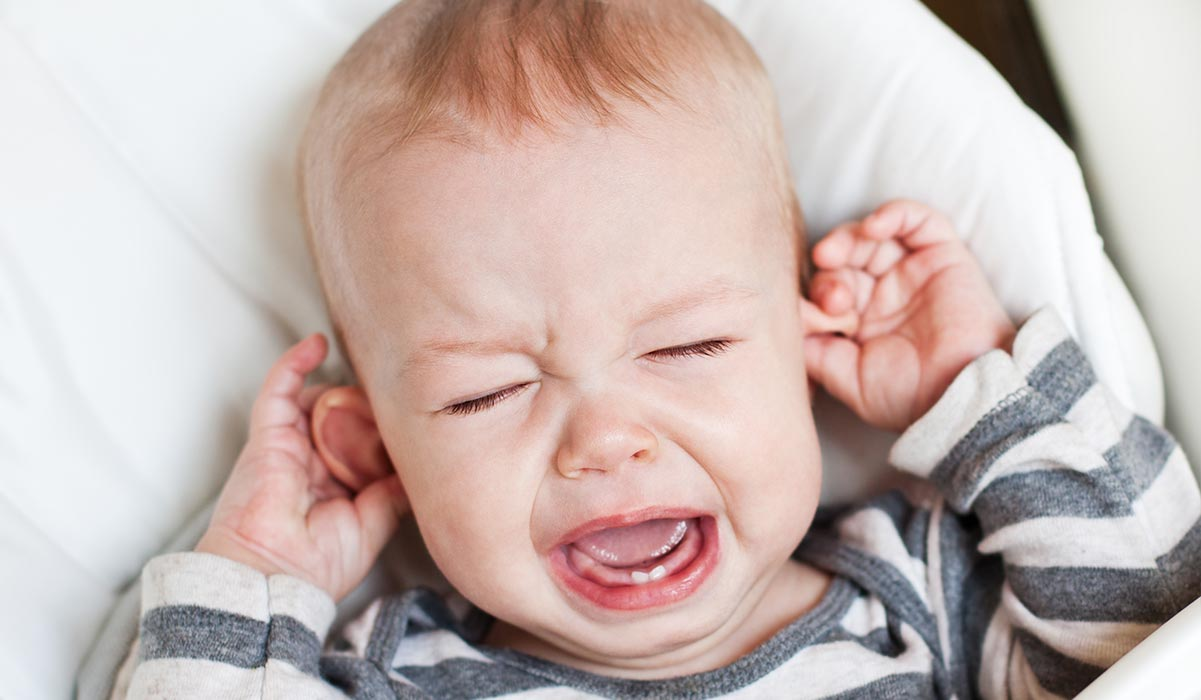 Toddler with glue ear